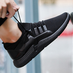 2018 Fashionable black shoes men casual walking sport shoes and sneakers