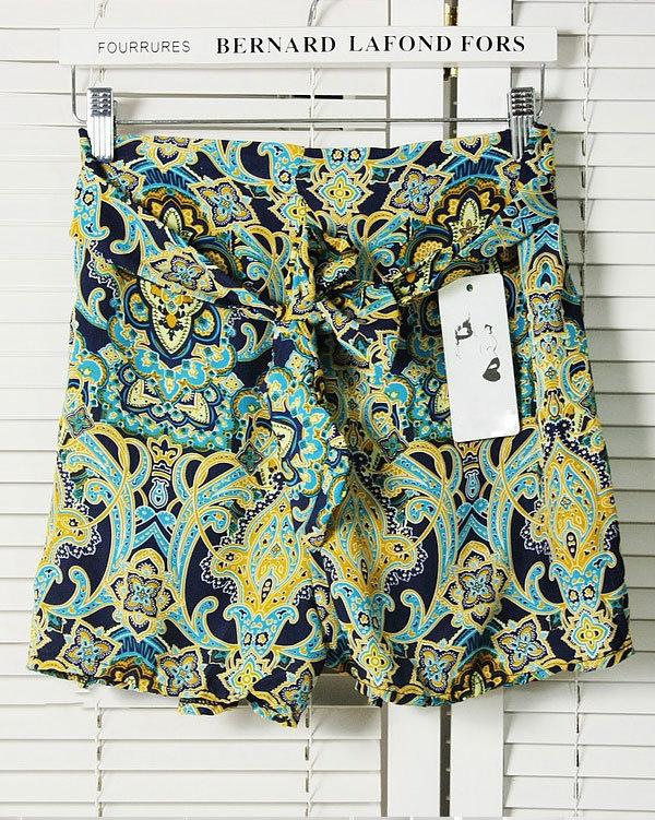 Женщины в леди ретро прорезиненная тесьма шорты цветочный завышенная талия без тары юбка короткая брюки