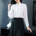 woman lady chiffon blouse shirt collar long sleeve color block loose blouses