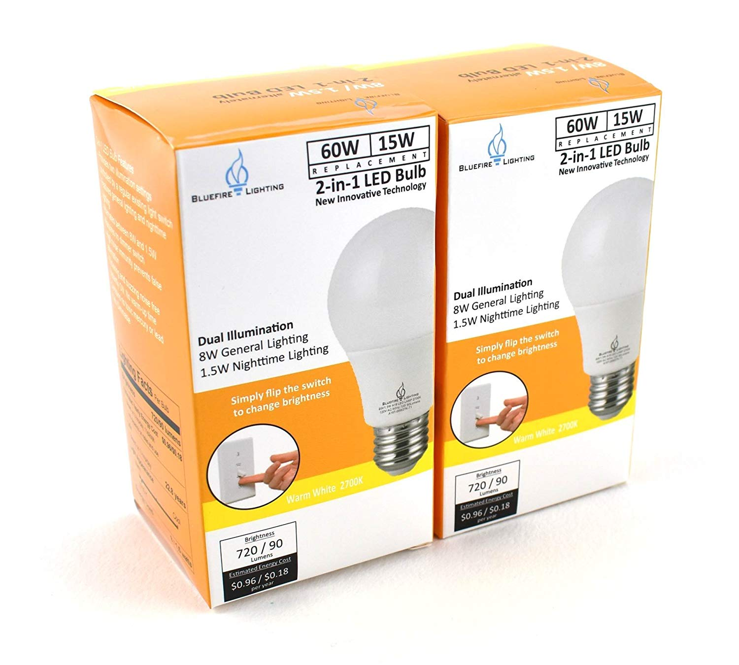 Bluefire Lighting - 2-Way LED Light Bulb Switchable Lighting , 60 Watt Equivalent (15W) / 8 Watt Equivalent (1.5W) Night Light, A19 - Warm White 2700K - 2 Pack