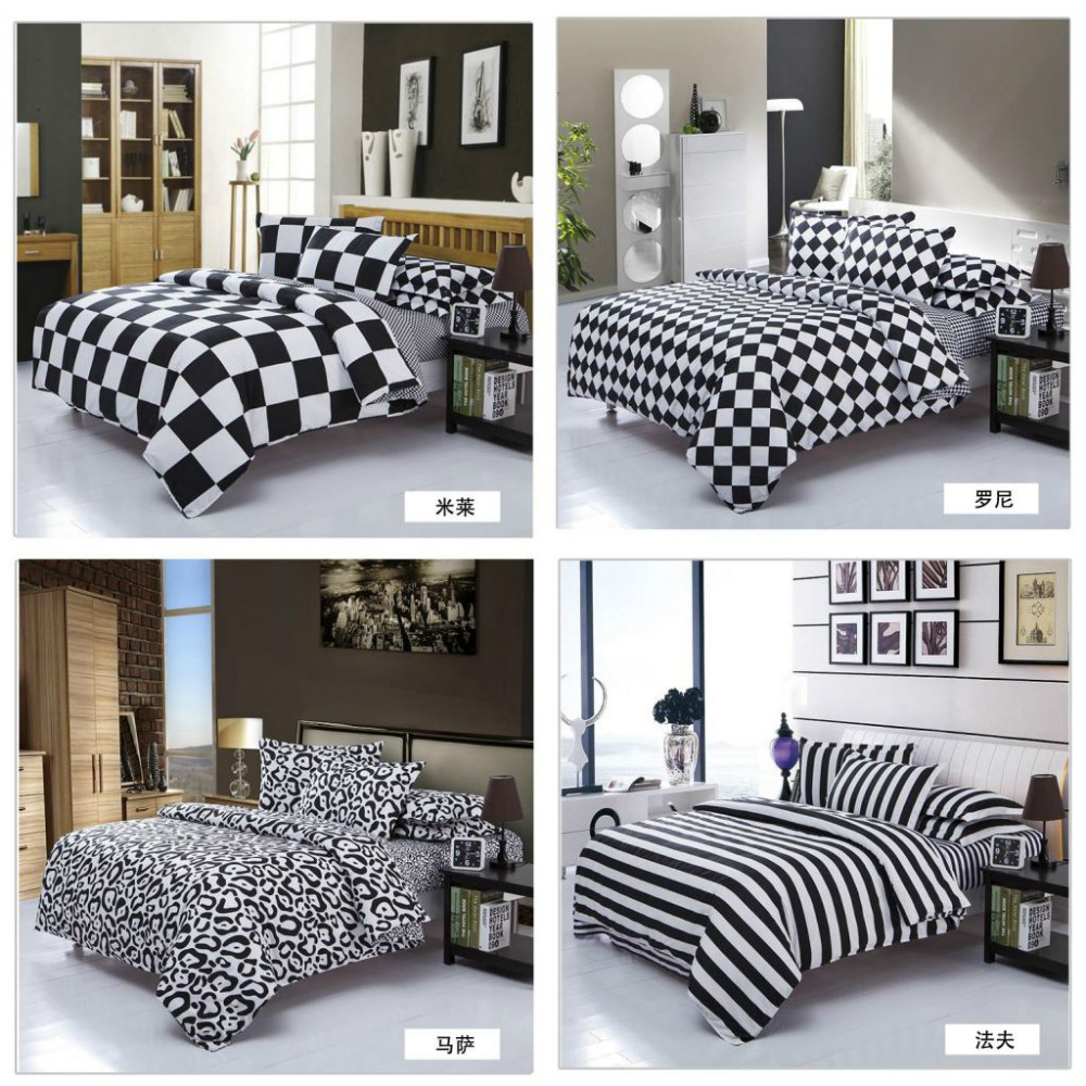 housse couette noir blanc. Black Bedroom Furniture Sets. Home Design Ideas