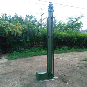 vehicle 9m military crank up manual mast pole with rotation 360 degree  whirling