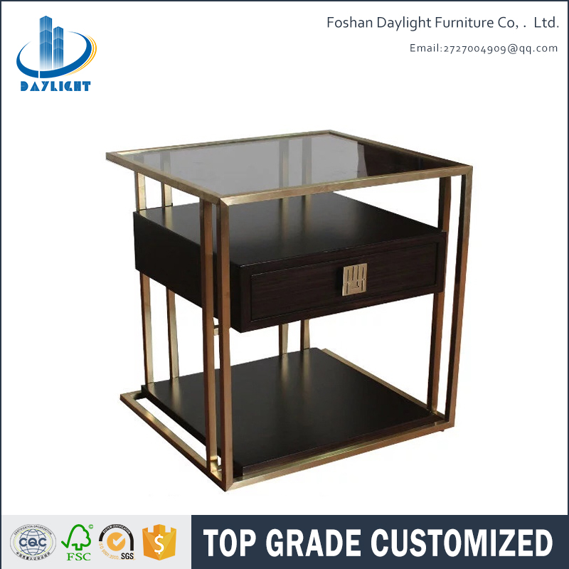 High quality new design wood corner table modern stainless steel square coffee table