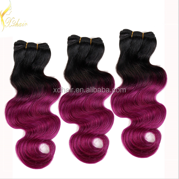 Brazilian Ombre Hair Extensions Body Wave Two Tone Human Hair Weft