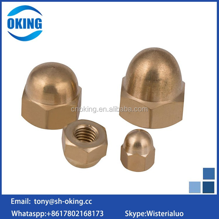 Shanghai supplier Copper Hex Domed end cap nut