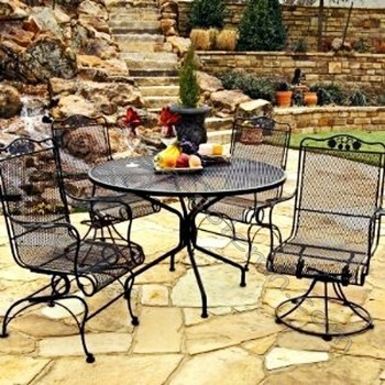 Antique Wrought Iron Patio Furniture Black 4 Chairs 1 Table Garden And Chair