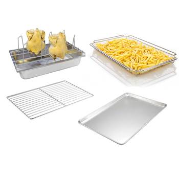 Stainless Steel roast chicken grill rack, french fry basket and rational combi oven