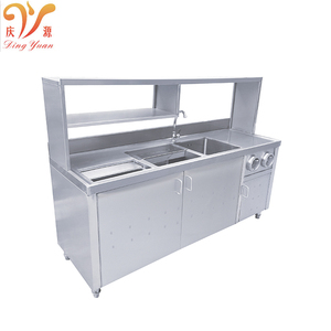 Best price Guangdong manufacturer provide commerical moden style Stainless Steel Kitchen Cabinet with shelves sink