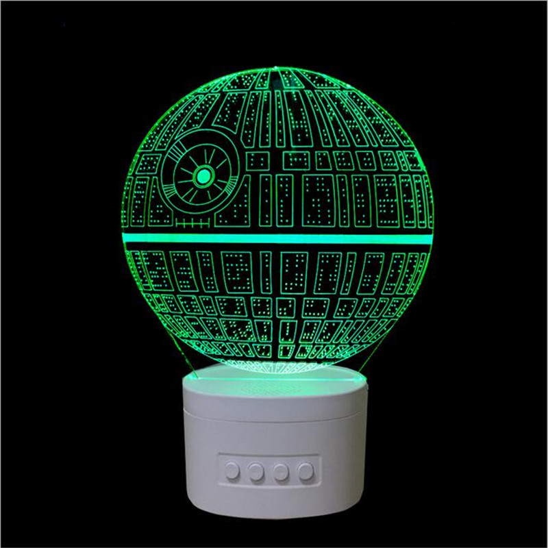 2017 new Death Star 3D Bluetooth speakers night light 3D LED stereo vision lamp