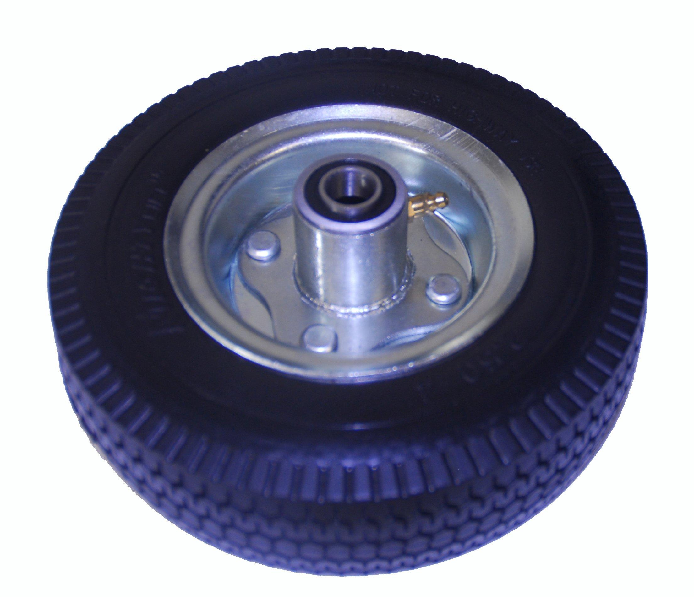 "Mighty Lift 8"" x 2.5"" Hand truck wheel, Flat Free, Tubeless, 4.10/3.50-4"" poly Tire, 2-1/4"" Offset Hub, 5/8"" Precision Bearing, 350 lbs cap"