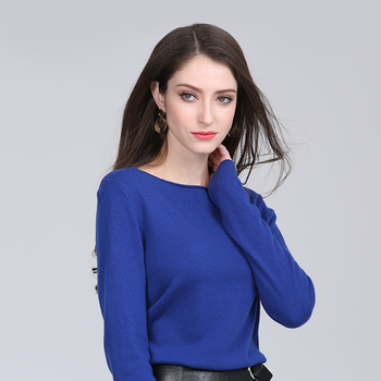 High quality pullover pure color o-neck 100% cashmere sweater knitwear for women