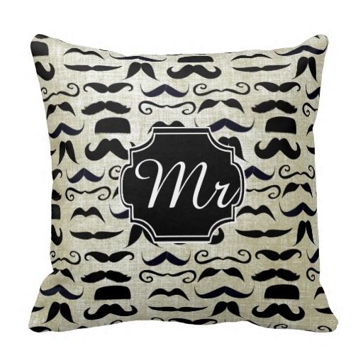 Colorful Mr Moustache Hipster Pattern Throw Pillow Case (Size: 20
