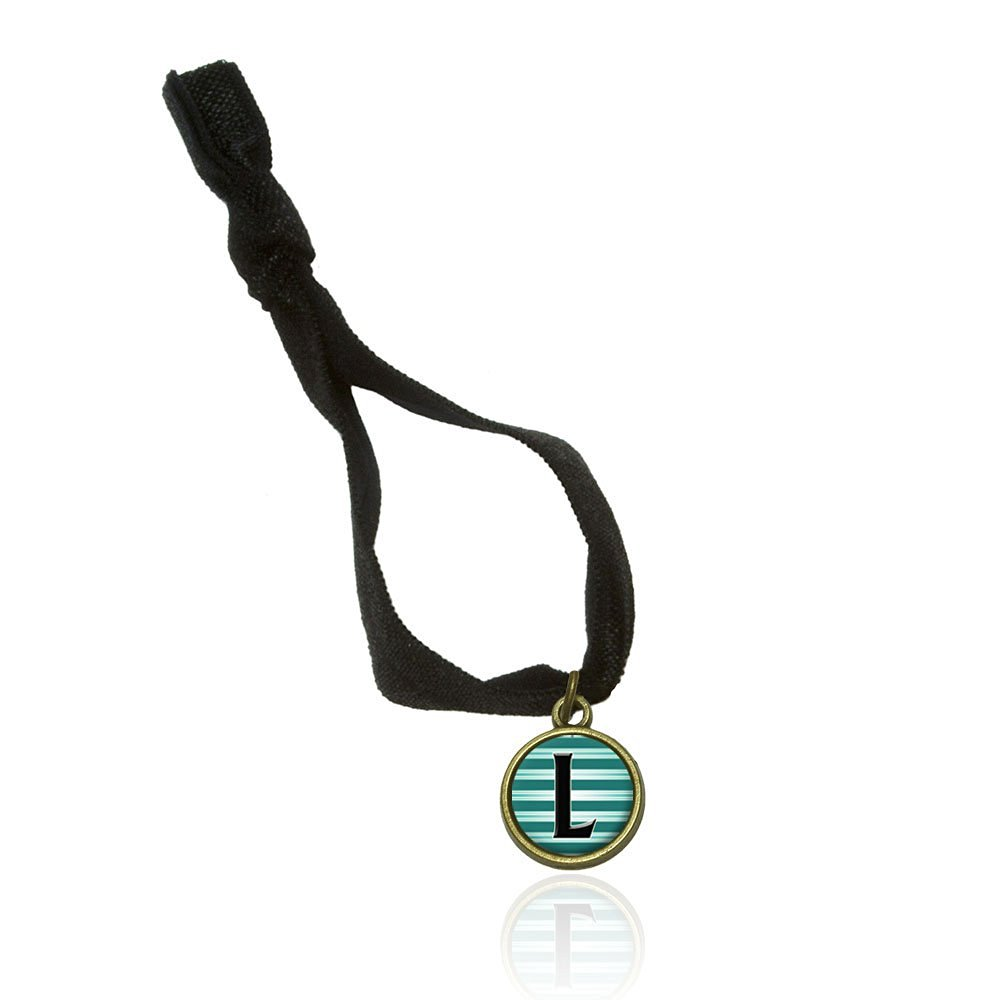 Letter L Initial Black Teal Stripes No Crease Stretchy Elastic Fold Over Hair Tie and Charm