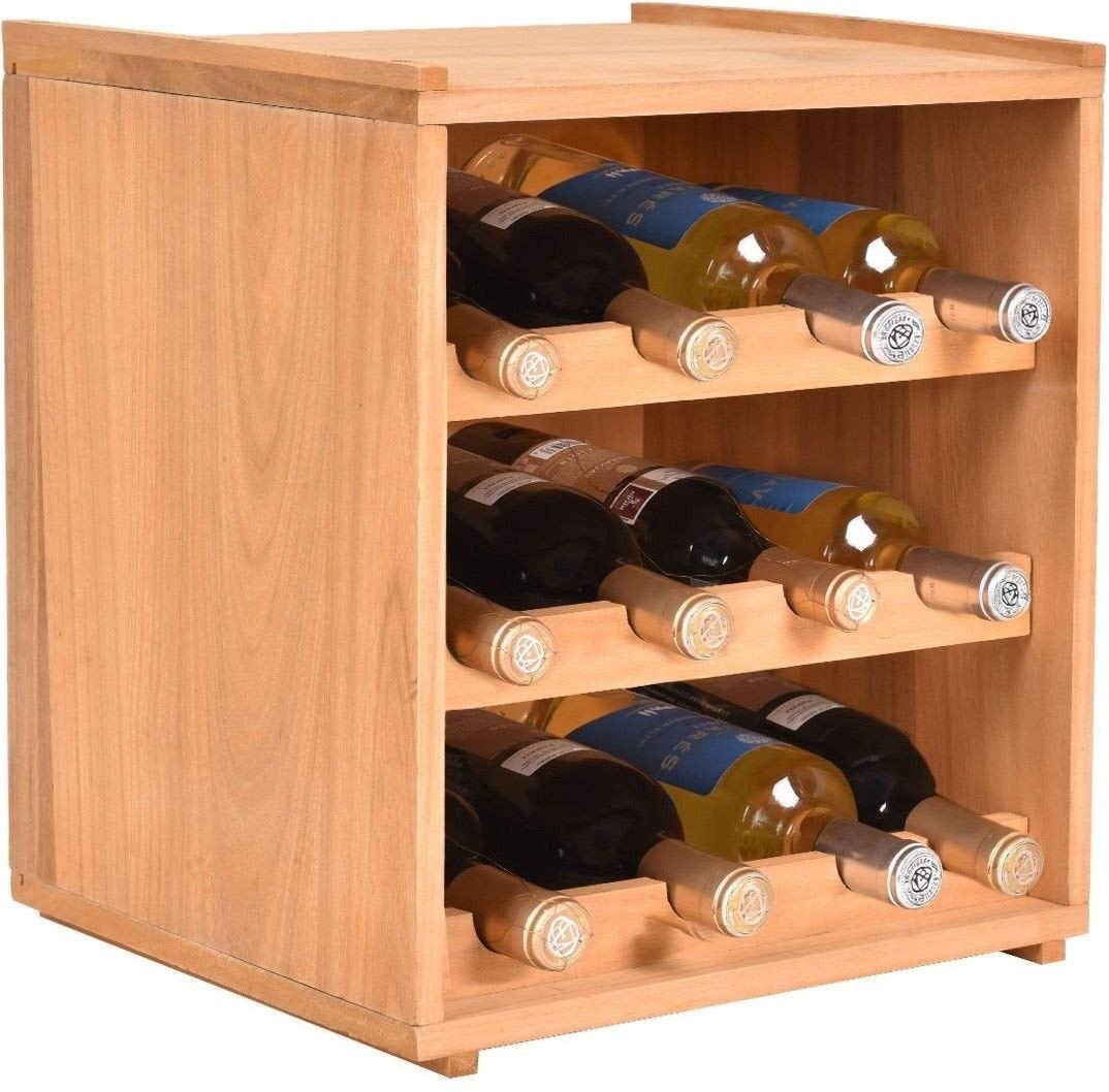 RX-789 Natural Wood Wine Holder Bottle Rack For 12 Bottles