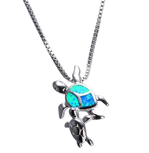animal Blue Opal Sea Turtle pendant mother Sea Turtle and baby charm