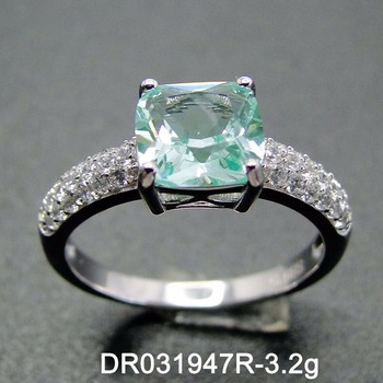Cubic Zirconia Pave Cz Jewelry 925 Sterling Silver Cushion Cut Green Spinel Engagement Ring View Engagement Ring Oem Product Details From Guangzhou