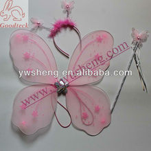 Wholesale plastic pink baby butterfly wings for kis party decoration