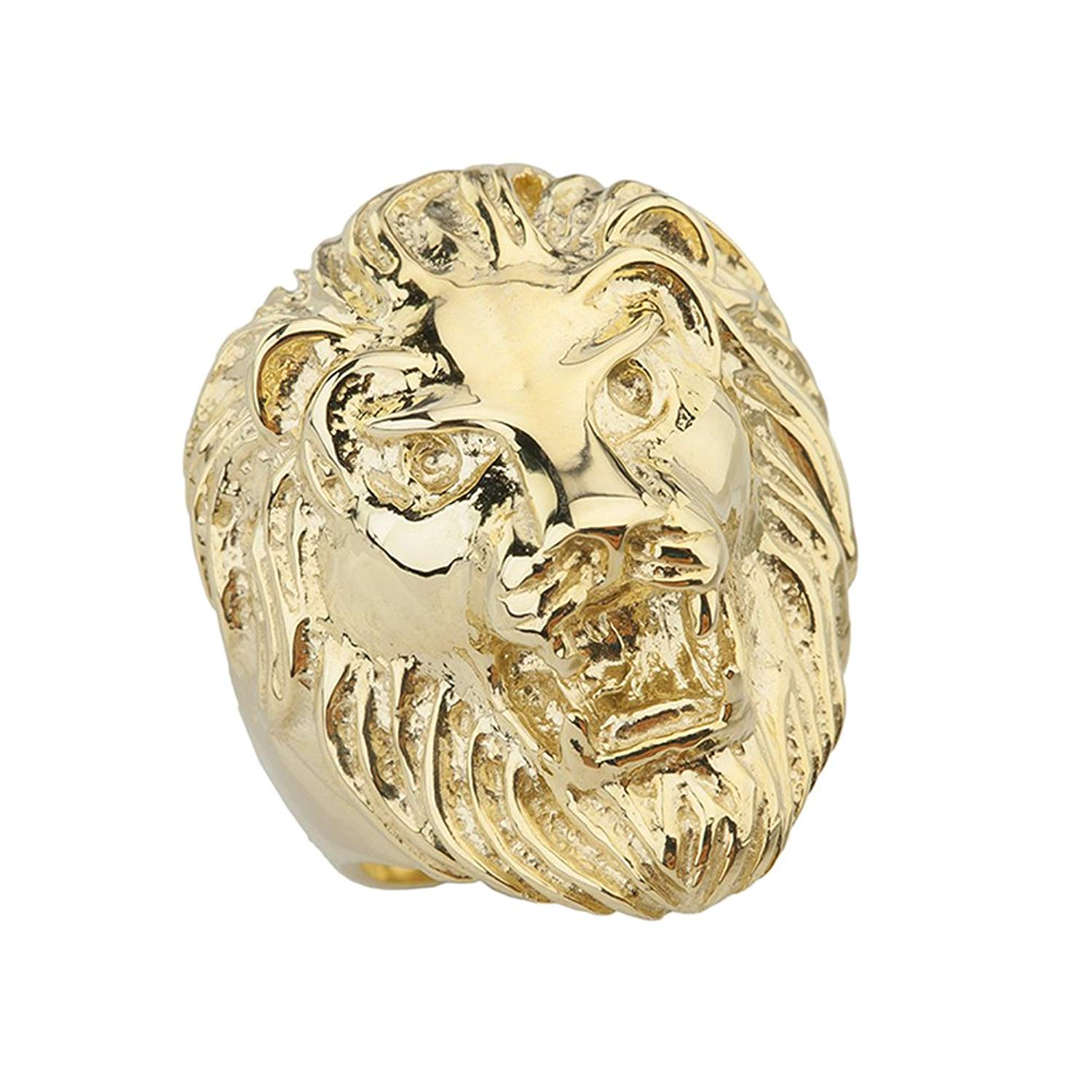5106bad84 Get Quotations · Fine Roaring Lion's Head Ring in Solid 14k Yellow Gold