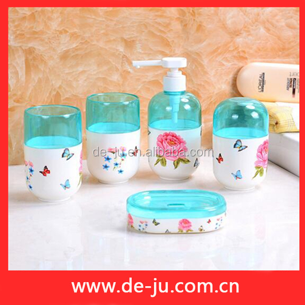 Butterfly Printing Resistant Round Luxury Bathroom Accessories