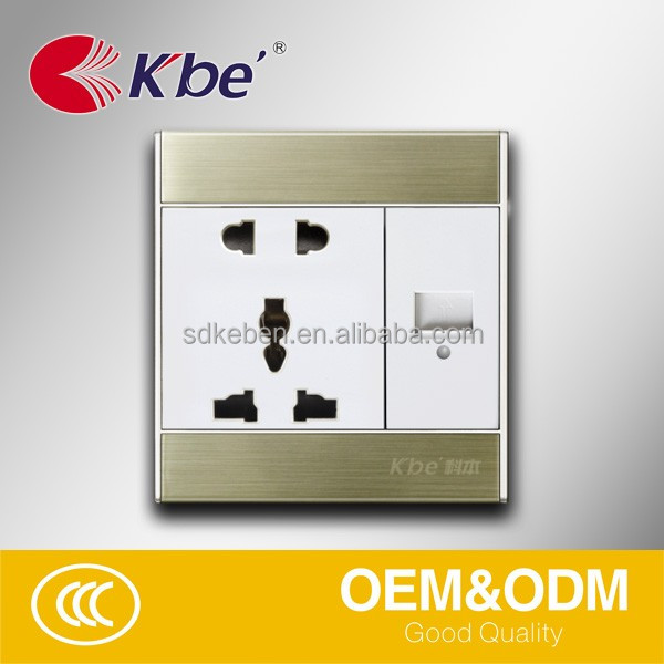 KBE two pin and three pin multi sokcet with one port usb wall socket