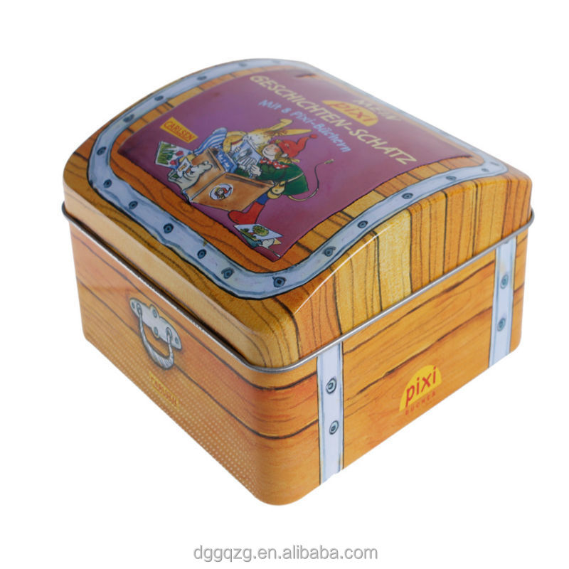 house shape gift tin box in packaging