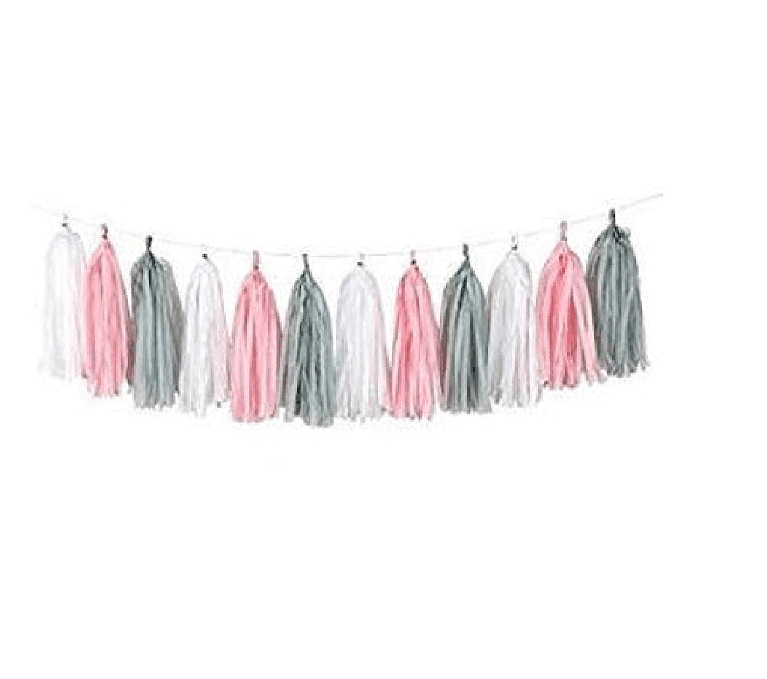 Girl Baby Shower Decorations Tassel Garland, Tissue Paper Tassels for Wedding, Baby Shower, Event & Party Supplies, 3 Pack 15 Pcs 14 inch DIY Kits - (Pink+Grey +White)