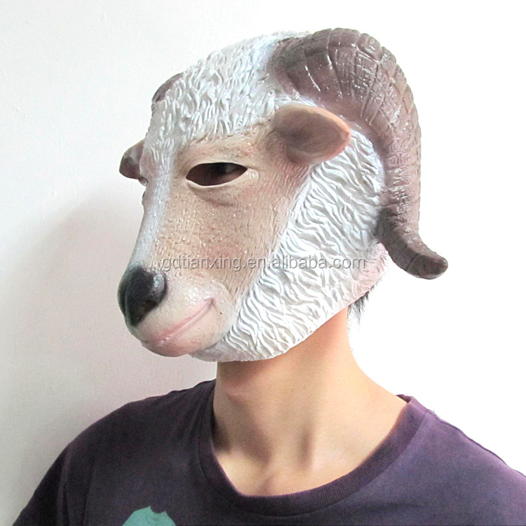 Hot Sale Halloween Double Horn Goat Adult Animal Latex Mask