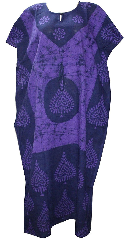 9a53f0d5c8 Get Quotations · Odishabazaar Women s Indian Cotton Batik Paisely Floral Printed  Kaftan Dress