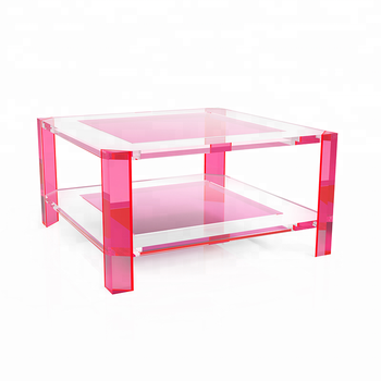 Living Room Furniture Neon Pink Clear Acrylic Coffee Table - Buy ...