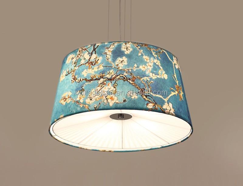 Hanglamp Voor Slaapkamer : Moderne hanglamp bloem blauw schilderen stof decoratieve opknoping