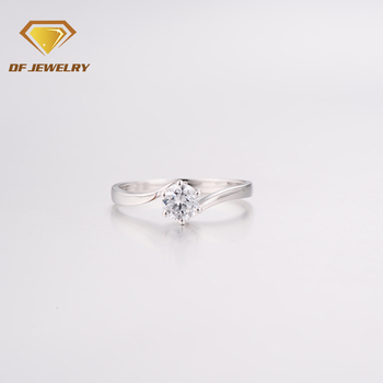 Simple Style Zircon Women Sample Diamond Wedding Ring 2 Gram Gold