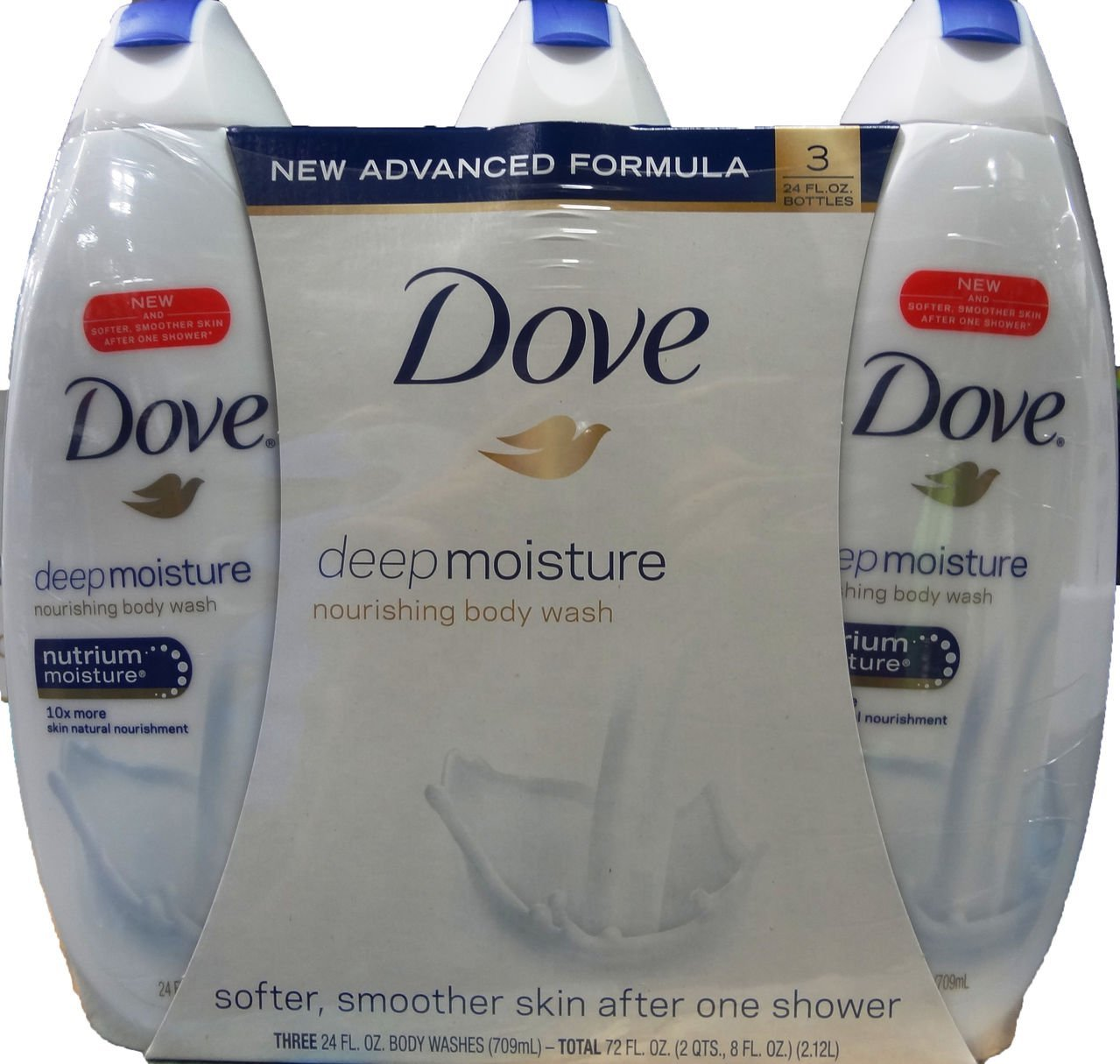 Dove Deep Moisture 3-24 FL OZ Nourishing Body Wash, 72 FL OZ