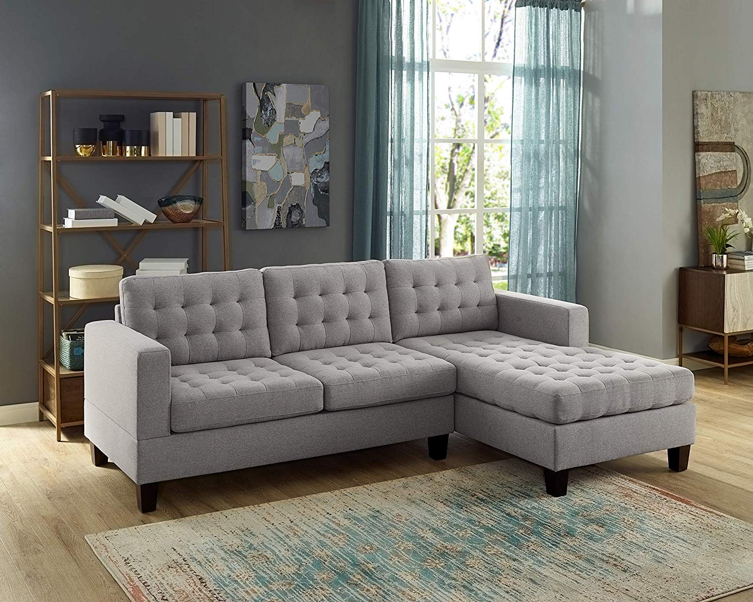 Metro Grey Contemporary Sectional Sofa in Light Grey Color Fabric - Reversible