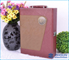 2 bottle embossing leather wine travel packaging box