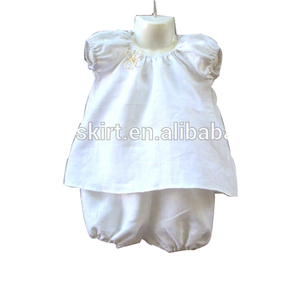 Boutique Children Clothing Set Girls Outfit Solid White 100% Cotton Clothes Set