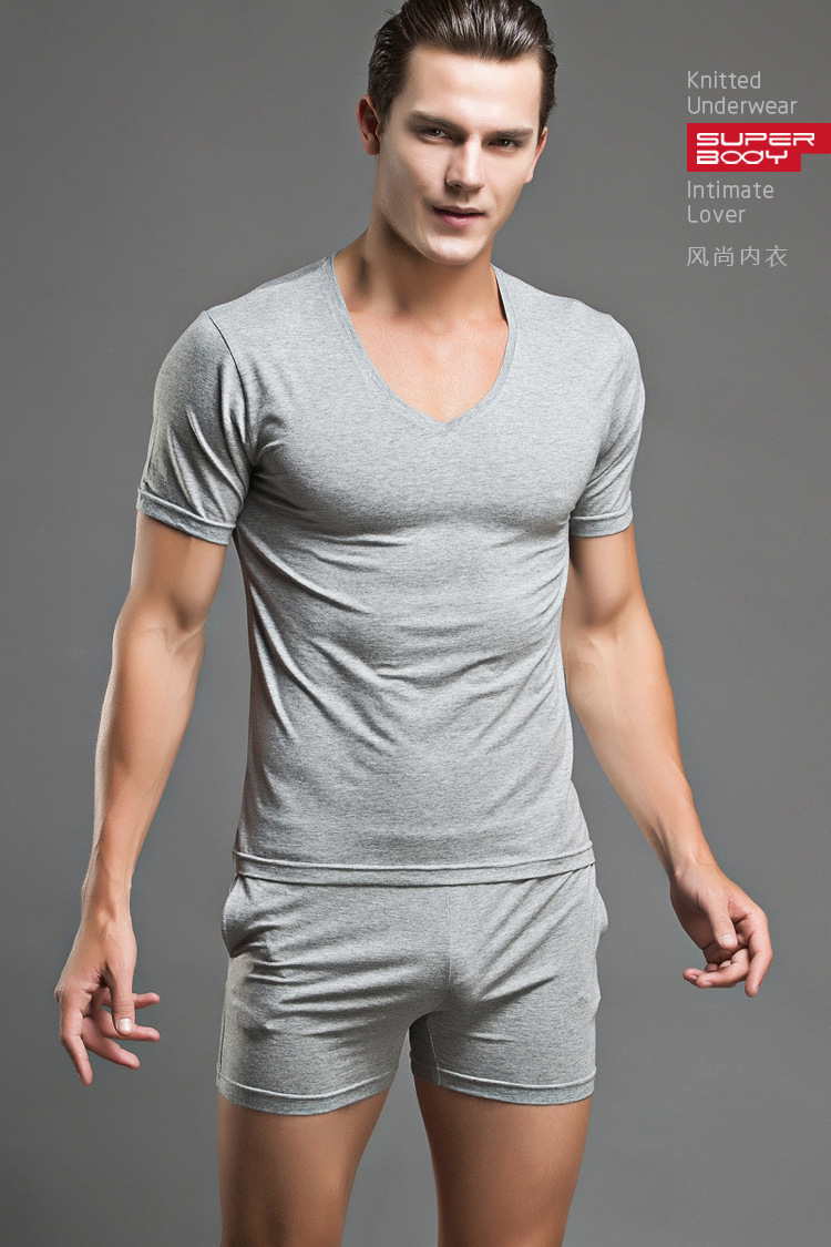 22f98f04a7 Cotton T-shirt Pajama Set Sleepwear Sexy Mens Underwear Tees Undershirts  Tshirts Brand Superbody Casual Short Sleeve Boxers   Nice plus size  clothing shop ...