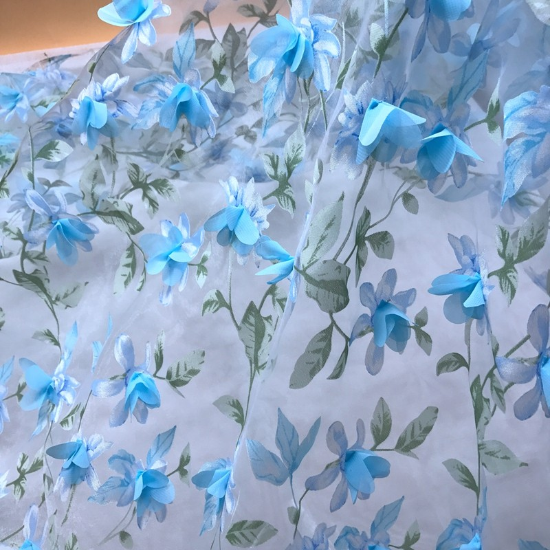 Embroidery applique Flower design 3d organza swiss voile gota nigeria guipure lace