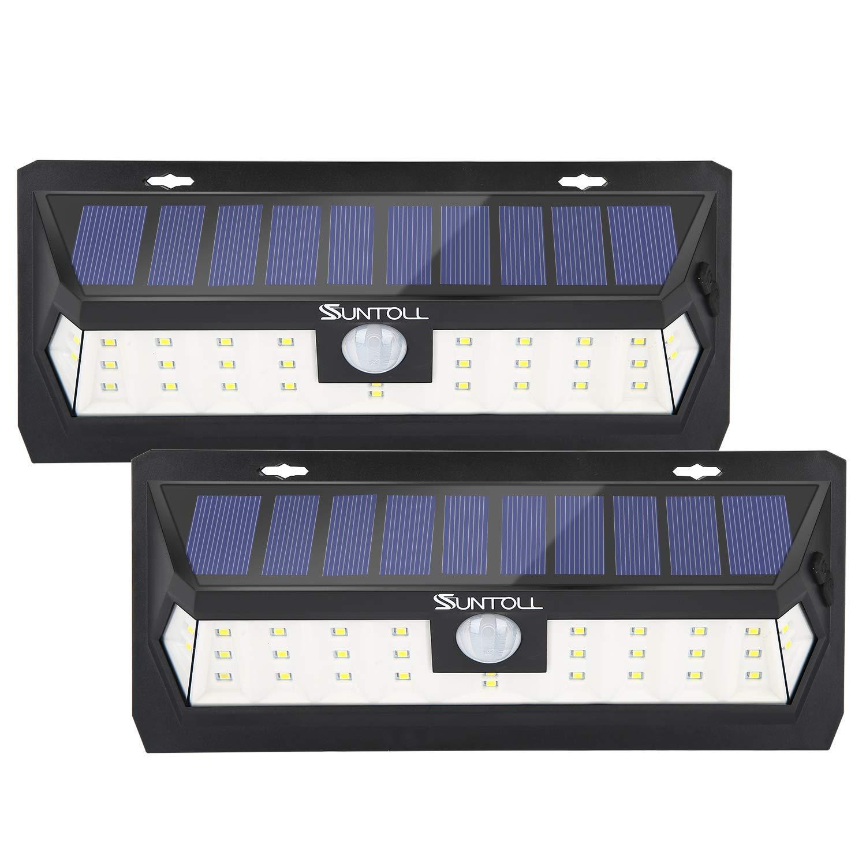 SUNTOLL Solar Lights Outdoor, 30 LED Solar Lights with 270° Wide Lighting Angle, Wireless Motion Sensor Solar Lights, IP65 Waterproof Security Solar Lights for Yard, Garage, Porch, Pathway(2 Pack)