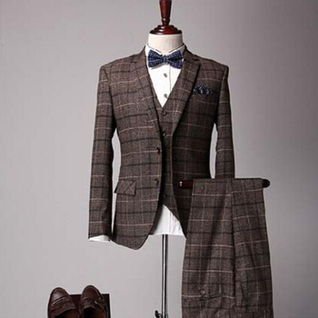 f4d03d336de8 Mens Traditional 3 Piece Check Wool Blend Suits In Brown - Buy ...