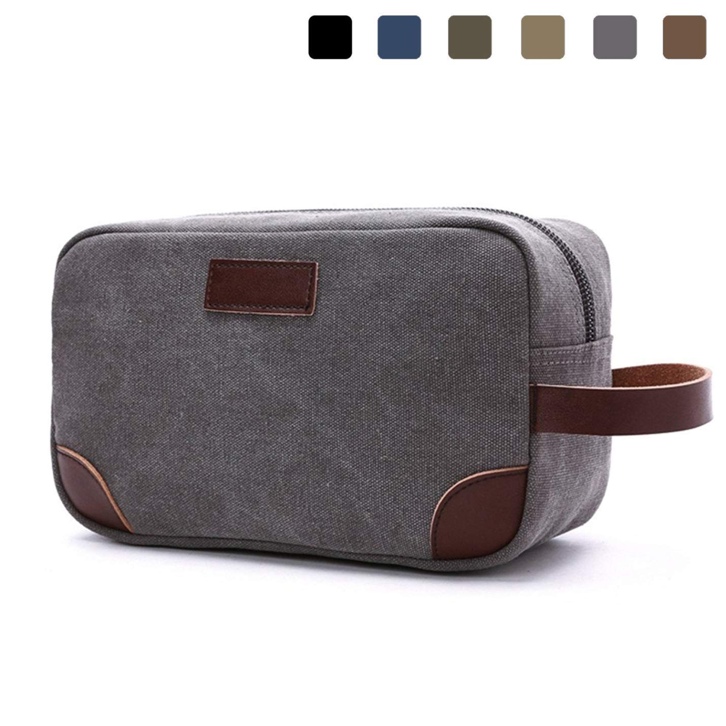 bd425ad013eb Get Quotations · Lanivas Canvas Travel Toiletry Bag Vintage Shaving Dopp Kit  with Leather Handle