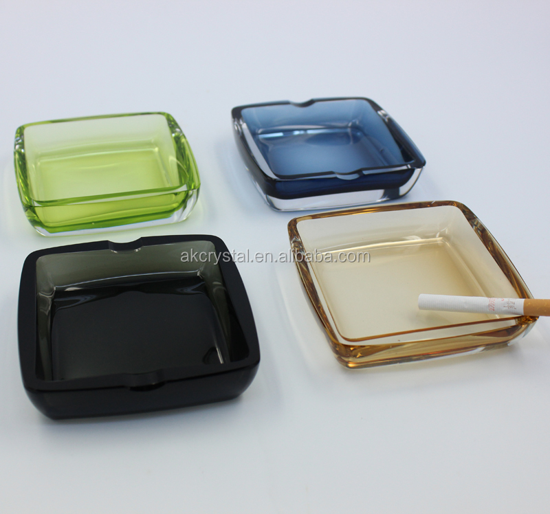 Hot sale cheap price promotional round shape logo engraving crystal glass ashtray