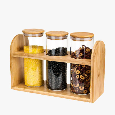 Simple Morden Air Tight Durable Storage Jars Set with Wooden Bracket фото