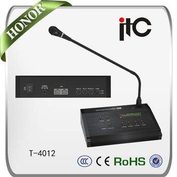 ITC T-4012 4 Zone Expandable Remote Paging System Paging Microphone For PA  Intercom, View Paging microphone, ITC Product Details from Guangzhou ITC