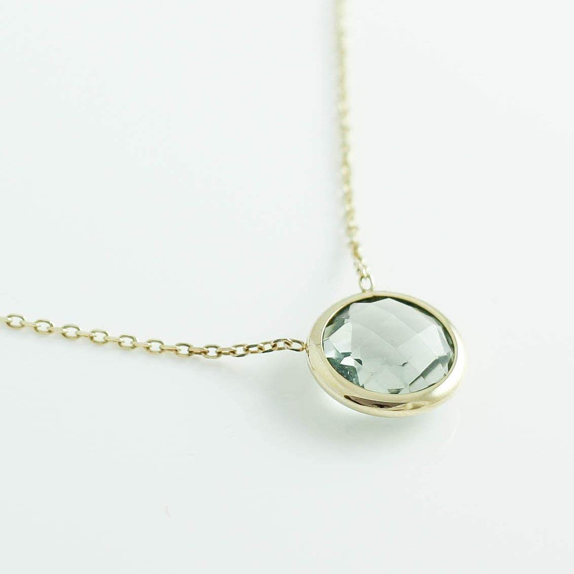 Green Amethyst Necklace Natural Gemstone Simple Layered Gem Pendant 14K Solid Gold Chain Anniversary Birthday Graduation Gift GR0305
