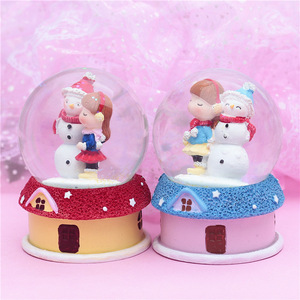 OP-R Wholesale Creative Decoration Crystal Ball Crafts Home Gifts Christmas Snowman and Girl Lighted Music Box