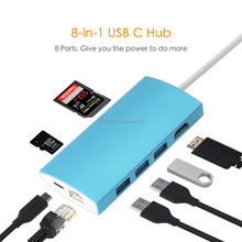 USB Type C Hub Adapter, 8 in 1 Combo Hub with RJ45/ USB 3.0 3 Port / PD/SD/TF Card Reader function