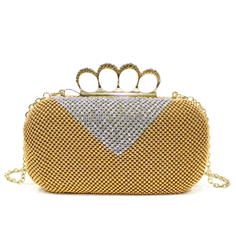 Best quality special gold rings wholesale crystal evening clutch