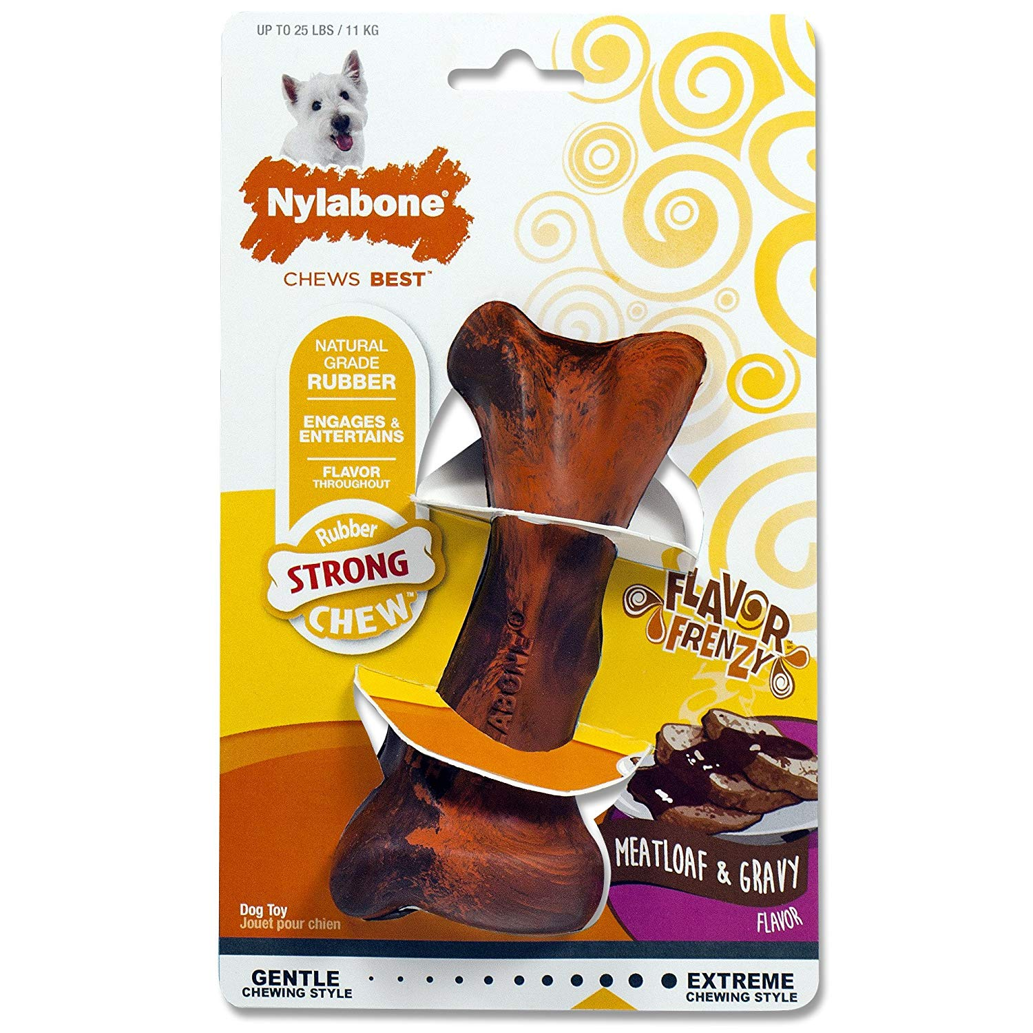 Nylabone Flavor Frenzy Rubber Dog Chew Toy, Meatloaf and Gravy