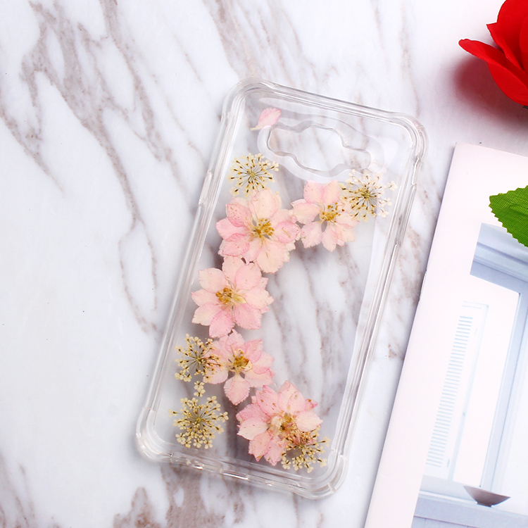 For Protecting Phone Shockproof Free Sample Pressed Real Dried Flowers Cell Phone Case for Samsung