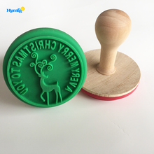 Funny kids baking cookie tool Christmas moose shaped silicone cookie stamp